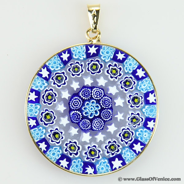 15 best images on pinterest murano glass fused large millefiori pendant in gold plated frame 32mm mozeypictures Images