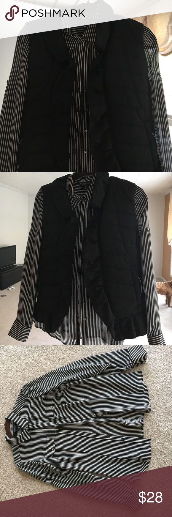 WHBM size 4 women's black and white striped shirt Perfect condition WHBM women's size 4 black and white striped shear button down. Been worn a few times around the holiday season. White House Black Market Tops Blouses