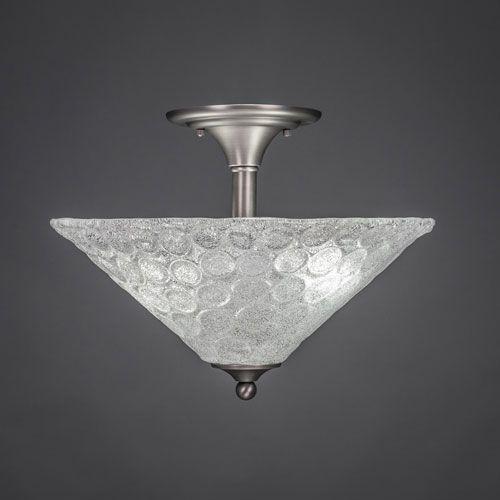 Brushed Nickel Two Light Semi Flush Mount With Bubble Glass Toltec Lighting Semi Flush Flu