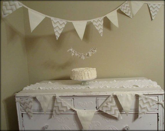 Chevron cake and flag banner in Cream, beige, ivory, white, & tan... great for parties, showers, weddings, and more!!! on Etsy, $10.00