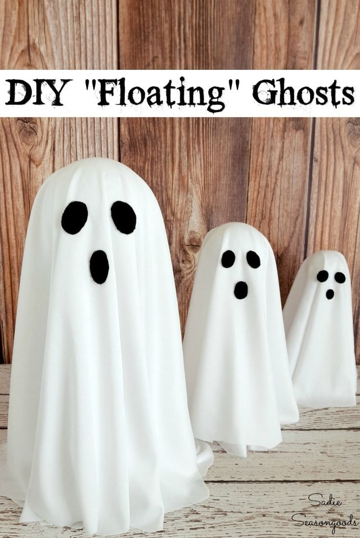 Floating Ghosts Or Friendly Ghosts With This Project For Brass Candlesticks With Images Halloween Ghost Decorations Ghost Decoration Floating Ghosts