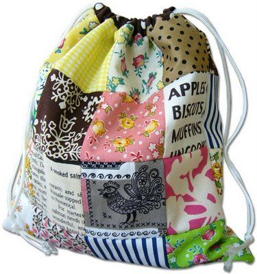 reversible patchwork drawstring bag