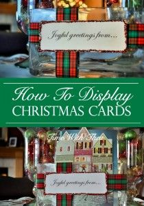 How To Display Christmas Cards ~ Display Christmas cards in a rectangular glass vase just like cut flowers adding to the Christmas decor! / timewiththea.com