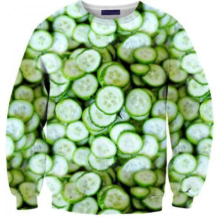 These 8 Crazy Food Sweaters By Shelfies Are Absolutely Real, May Scare You | Food Republic: Cucumber Sweater, Graphic Sweaters, Fun Sweaters, Food Clothing, Necks Sweaters, Food Sweaters, Awesome Sweaters, Crazy Sweaters Socks