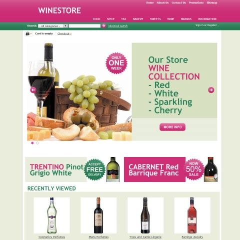 Wine Store CS-Cart Template is specially designed for Dessert`s Wines, Sherry & Port and other or other Food`s categories of our store. Garmonical natural colors combination of green, magenta and beige is the best decorate for Red Cabernet, White, Rose Bubbly, Sherry and Port, Vermouth and Martinez.