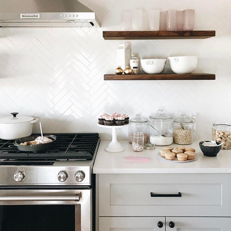 Open shelving + herringbone backsplash kitchen