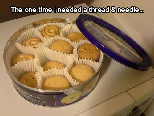 HAHA! I thought my grandma was the only one who kept her sewing crap in these tins lol