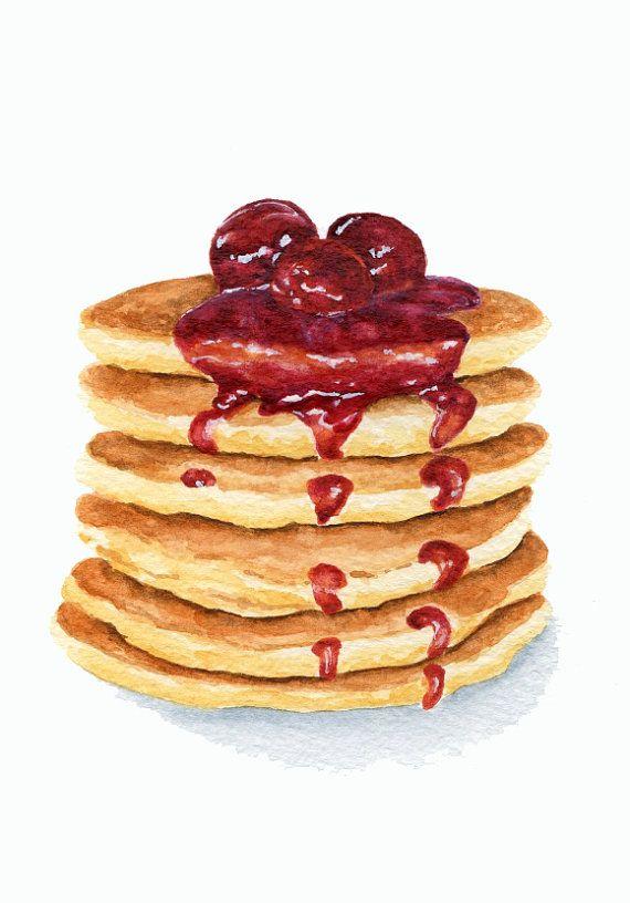 ORIGINAL Painting Pancakes with Cherry Jam por ForestArtStudio