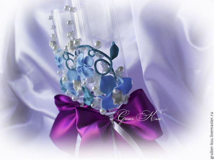 """Купить Свадебные аксессуары ручной работы """" Голубые орхидеи"""" - фиолетовый, набор свадебный"""