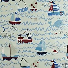 PRESTIGIOUS TEXTILES 100% COTTON CURTAIN FABRIC/CRAFT WAVES Marine p/m