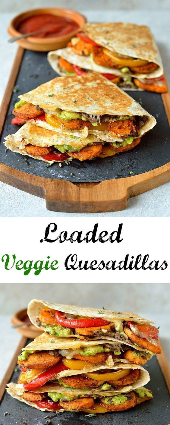 Loaded veggie quesadillas - delicious, filling, healthy quesadillas stuffed with spiced roasted sweet potato, peppers, black beans, avocado, sub vegan cheese