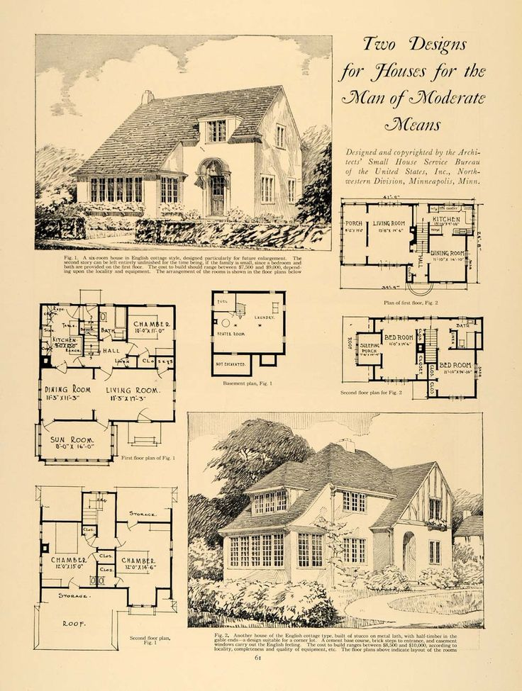 1924 print home design living room dining sun architect for Vintage floor plans