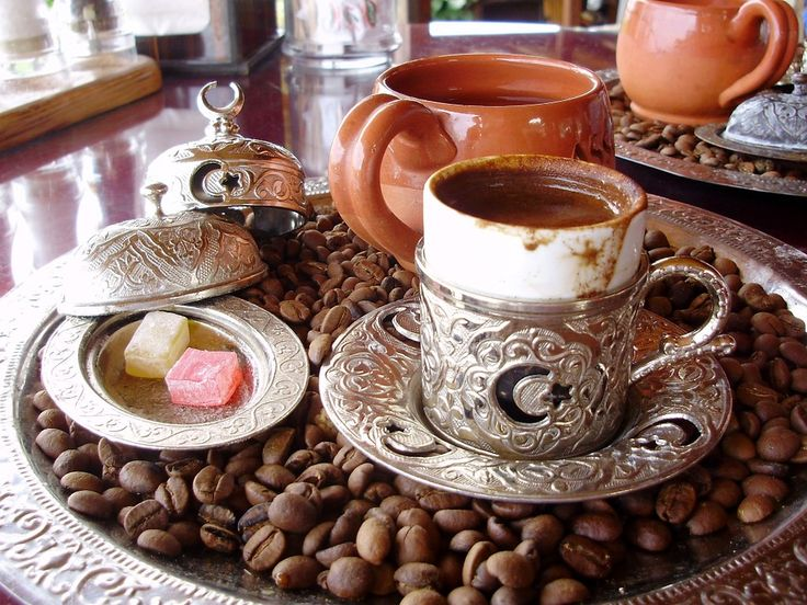 TURKISH COFFEE - $5.99 ______________________ Roasted and then finely ground coffee beans are simmered in a pot, optionally with sugar, and served in a cup where the grounds are allowed to settle.