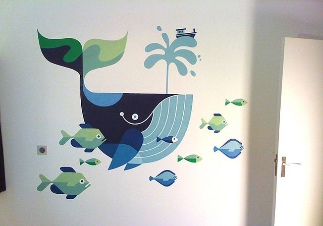 I think this would look great on a nursery wall. The boat on top of the spout is cute. #whale #mural #fish #ocean