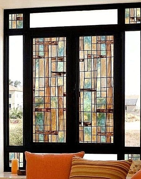 City Lights Decorative Window Film Midcentury Modern Stained Glass privacy cover | eBay