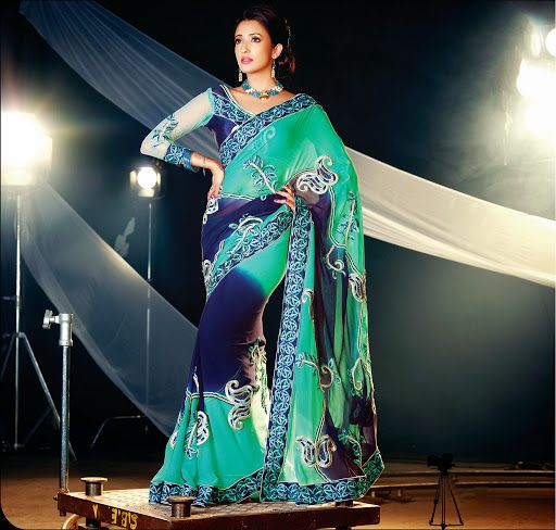 Contemporary Geenish Blue & Navy Blue Embroidered Saree | StylishKart.com
