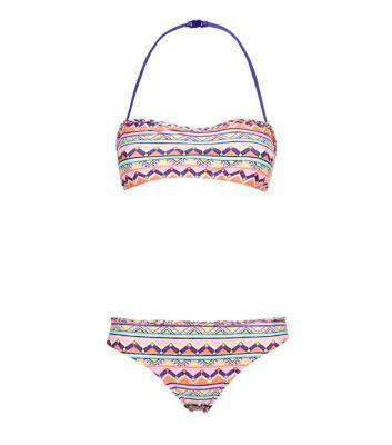 Teens Pink Aztec Bandeau Bikini  $8