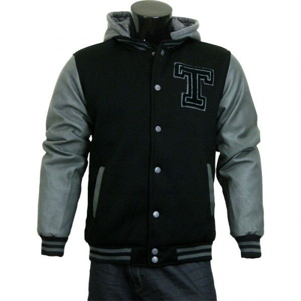 varsity jacket baseball jacket letterman jacket mens black fleece body and gray pleather sleeves with letter t varsity letterman jackets for