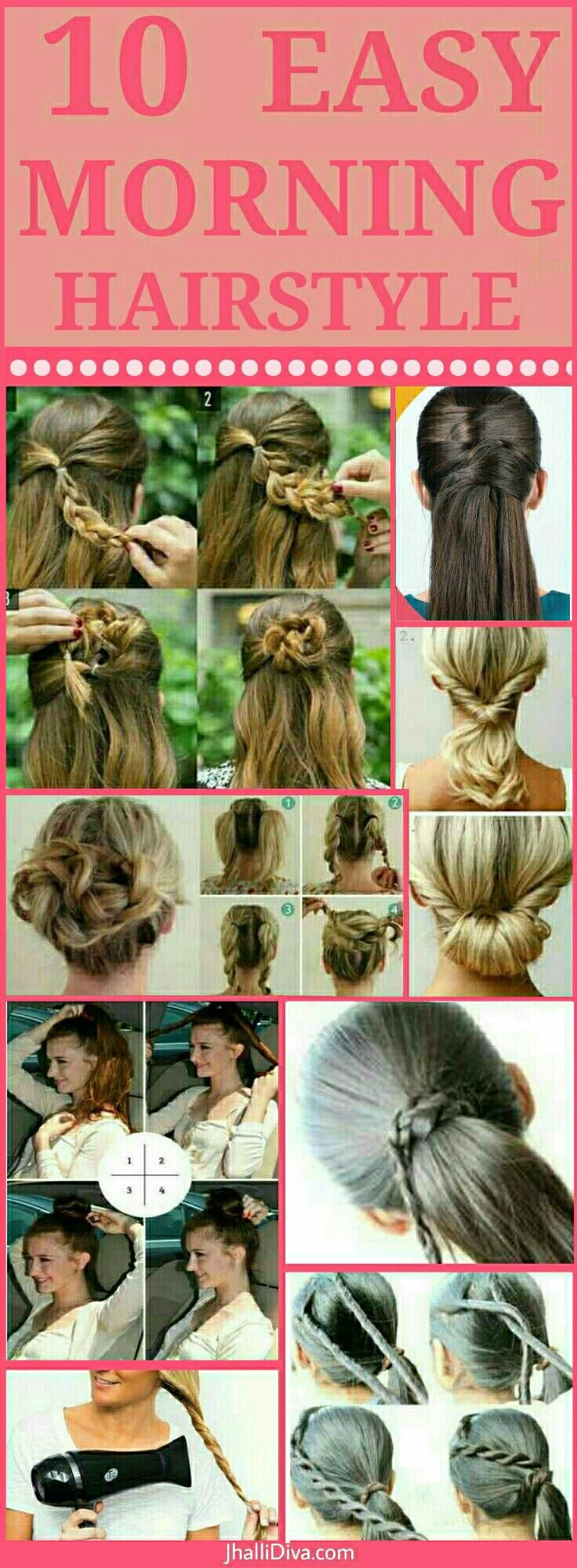 Top 10 Easy morning hairstyle tutorials when you're running late or just being lazy! They look chic and take just few minutes.. #Diyhairstyles