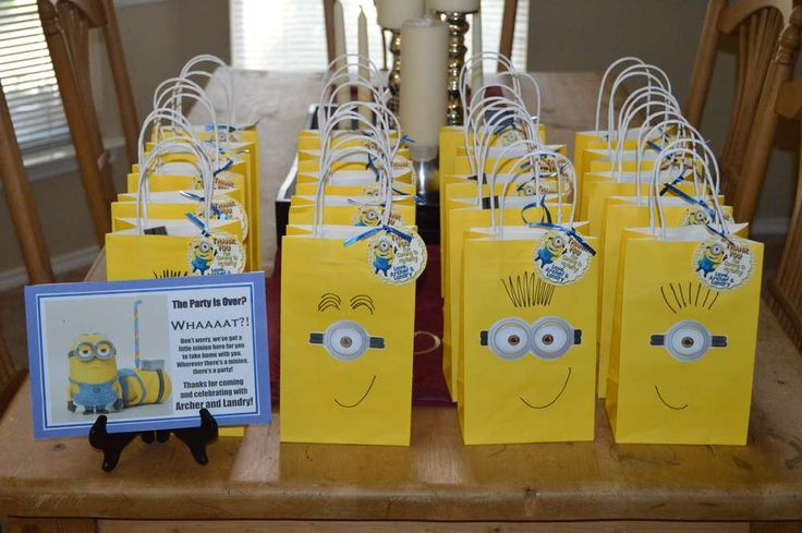 Twin Boys 5th Minion Birthday Party | CatchMyParty.com