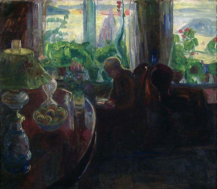 thorvald erichsen(1868-193), interior with the painter oluf wold-torne, 1901. oil on canvas, 79 x 91 cm. nasjonalmuseet for kunst, arkitektur og design, norway