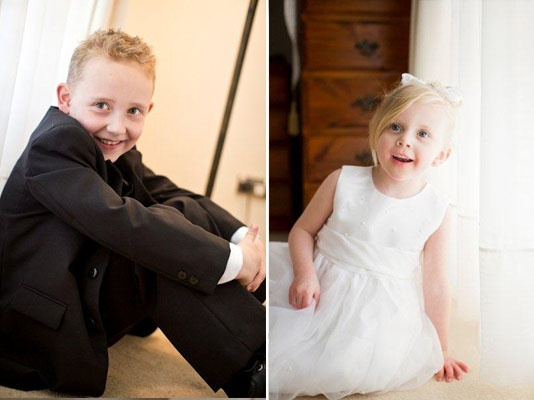Real Life Bride Kellie'sFlower Girl and Page Boy Style:  One boy and one girl #rozlakelin #bridal #bride #wedding #beautiful #designer #couture #fashion
