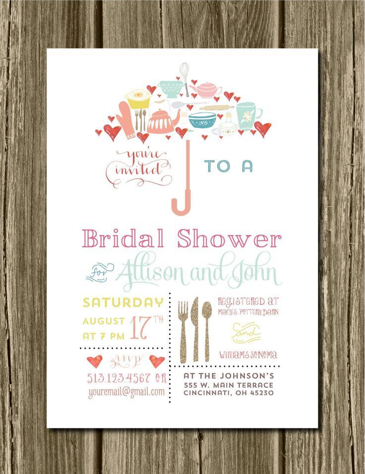 Umbrella Bridal Shower Invitations U0026 Recipe Card. Wedding. Bridal.  Typography Invite. Bridal Shower. Unique. Bridal Umbrella. Kitchen Shower Part 87