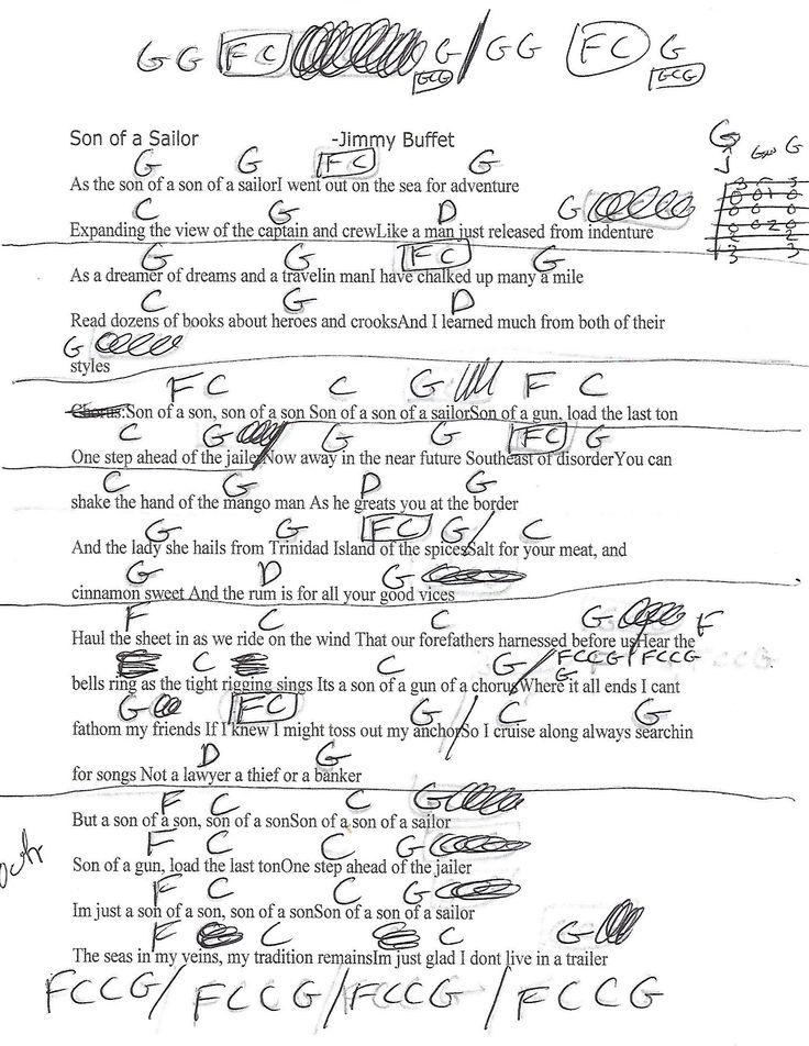 Son of a Sailor (Jimmy Buffett) Guitar Lesson Chord Chart