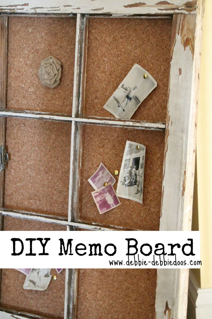 I have recently become obsessed with creative ways to repurpose old doors and windows (thanks, Pinterest). This one is really cool! Old window into cork board.