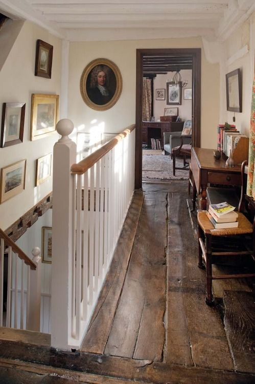 Brilliant old landing - great floor boards and pictures. Like the grey door frame too.                                                                                                                                                                                 More