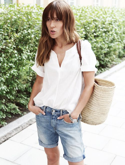 long jean shorts with white tee