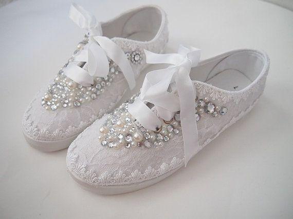 15 Anos Flats: Boda Zapatos Tenis Zapatillas Elegante Encaje Por