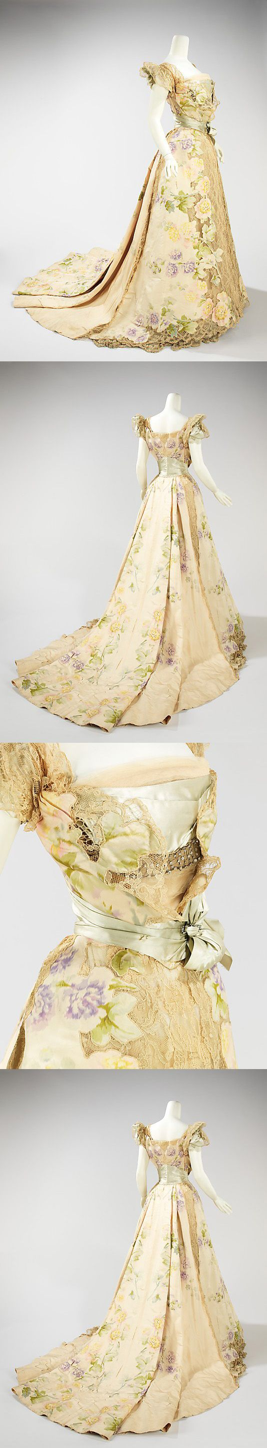 I've pinned a close-up of this dress before, but it's worth sharing it in full view! (Evening dress, House of Worth, 1902)
