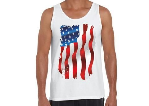 American Flag Patriotic Mens 100% Cotton Fun Tank Top Summer Workout 4th of July Tshirt Gift for Him – S Red
