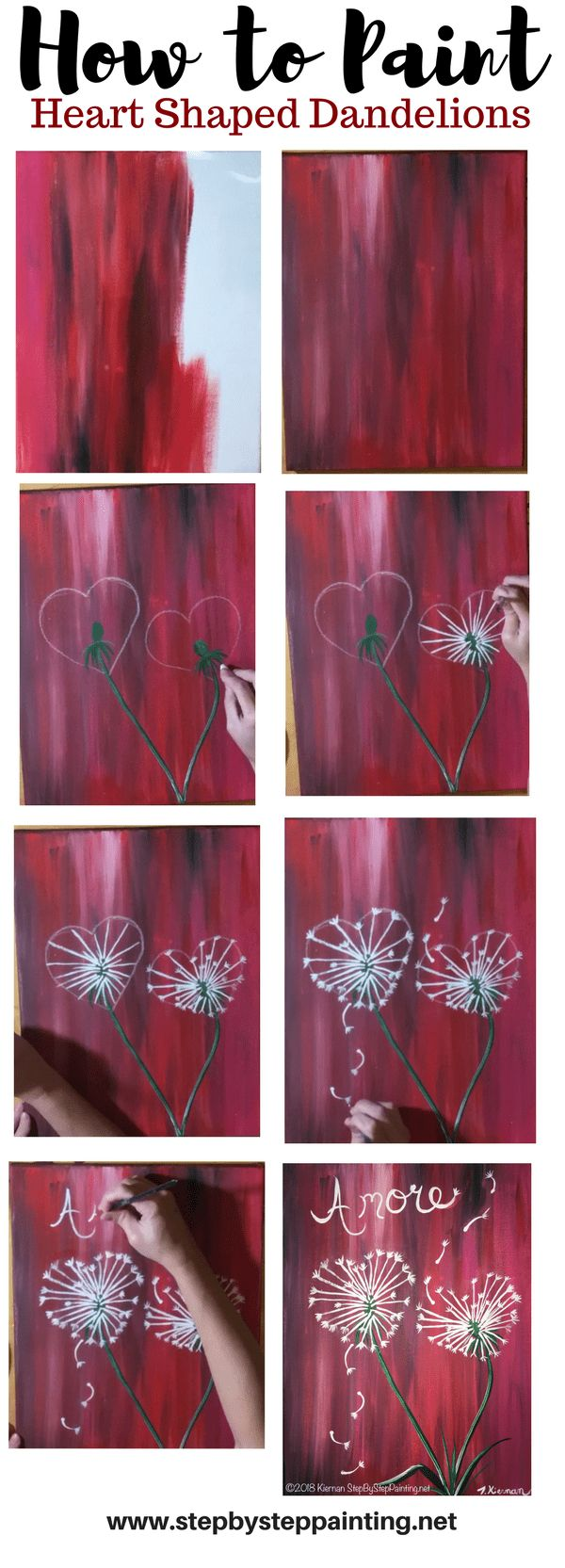Easy Valentines Day painting for beginners! How To Paint Dandelion Hearts. Step by step painting tutorial.