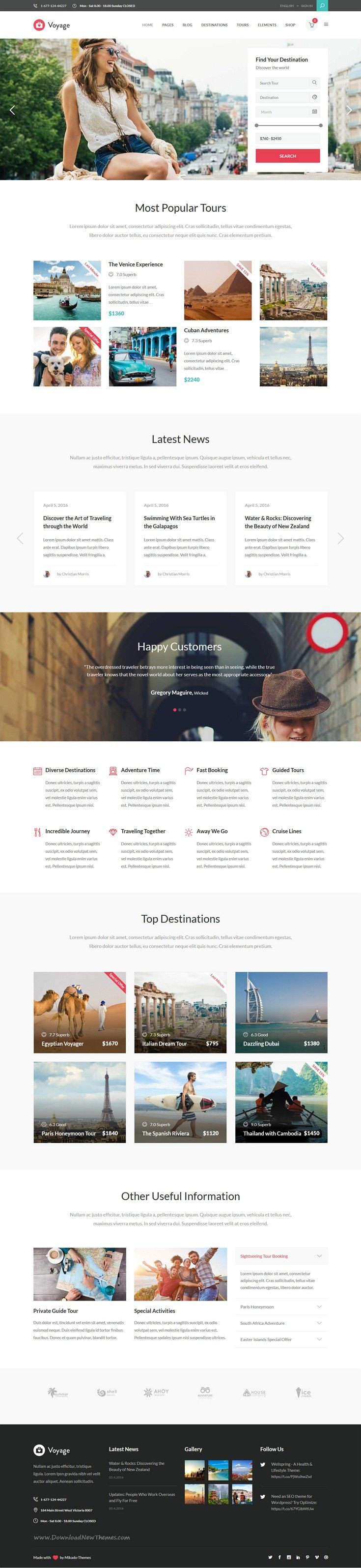 Voyage is modern and beautiful WordPress theme for all kinds of #travel and tourism businesses #website with integrated #booking functionality, PayPal connectivity. Download Now!
