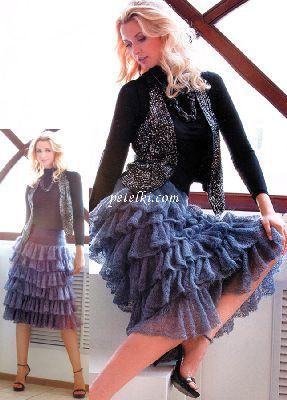 Вязание спицами юбки из мохера спица