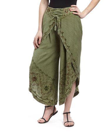 Look at this #zulilyfind! Green Embroidered Dhoti Pants #zulilyfinds