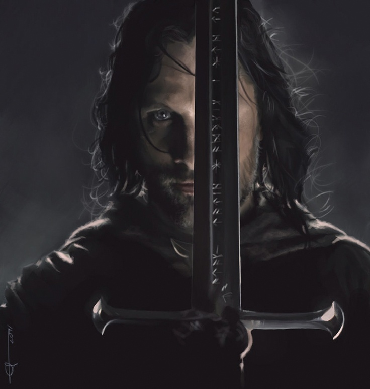 Aragorn II, son of Arathorn II - crowned King Tar Elessar Telcontar. 39th Heir of Isildur and 65th in the Numenorian line since Elros, brother of Elrond. Descended via Elros from all 3 Houses of the Edain (Men), as well as from the Eldar (Elves) as well as from the Maiar (Spirits) via Lúthien, daughter of the Maiar Melian.