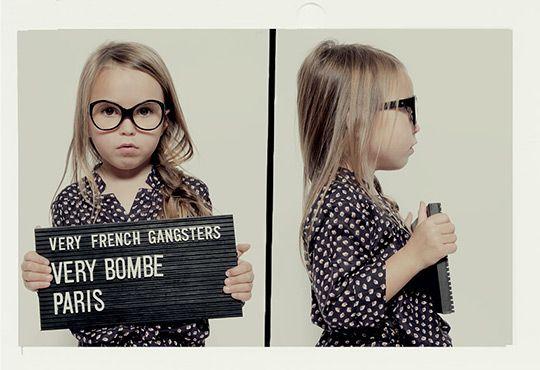 Very French Gangsters Eyewear for Kids.  Half hoping my kid has bad eyesight so she can rock these!  Thanks for the lead @satsuki shibuyaFor Kids, Mugs Shots, French Gangsters, Photos Shoots, Eyewear, Mugshots, Schools Photos, Mug Shots, Paris Birthday