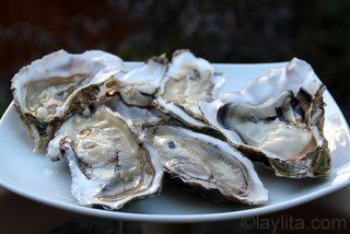 Shucked oysters for ceviche