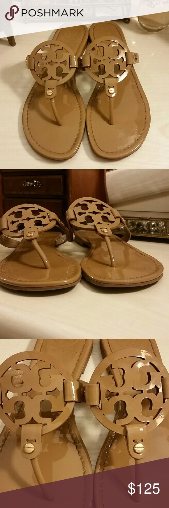 Tory Burch miller Sandals in Patent Tan Sand -------PRICE FIRM------- Tory Burch Miller Sandals in Tan Patent Leather Color of Sand. Preowned with minimal wear to front, heels, footbed, and soles consistent with pictures.  Size 8.5  Reviews online on the Tory Burch Miller Sandal will give you a well rounded idea of how they fit.  No box/dustbag.  Just in time for vacation 🌞 or rush 📚.   *No trades, but thank you* -------PRICE FIRM------- Tory Burch Shoes Sandals