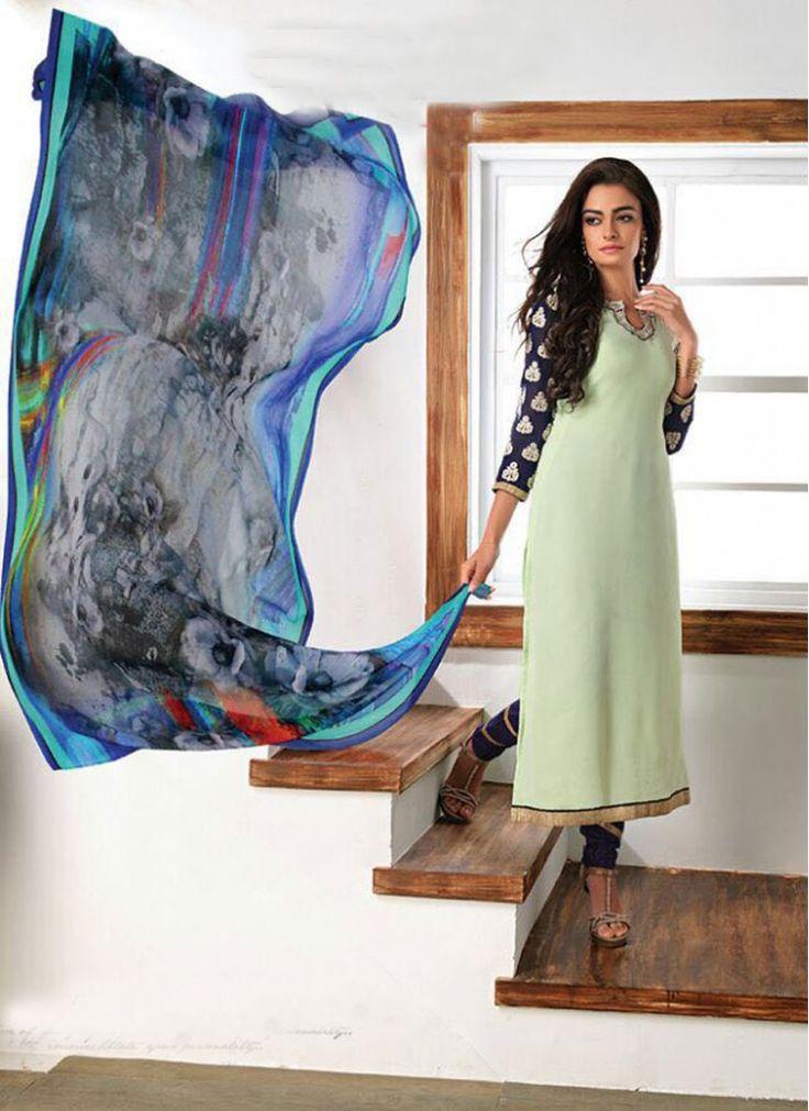 Blue and Sea Green Faux Georgette Decent Indian Salwar Kameez