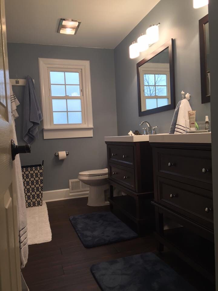 Love these blue gray walls. Paint color: wall Ovation by Behr marquee, eggshell. Trim Bakery Box by Behr Marquee, semi gloss.