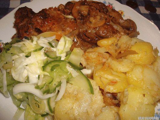 Gombás hagymás tarja házi csalamádéval recept Békefi Rita konyhájából - Receptneked.hu