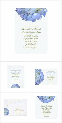 "Blue floral design, hydrangea wedding stationery set.  Light blue, big flowers decorate invitations, reply cards and many matching items in the ""Blue Moon"" design line.  #summer #wedding"