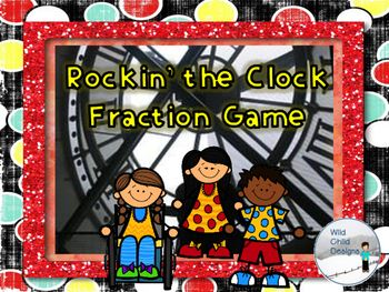 """This game is FUN & CCSS aligned! Students use analogue clock faces to """"rock the clock"""" and travel through 480 minutes of fractions. The first one to finish, wins!"""
