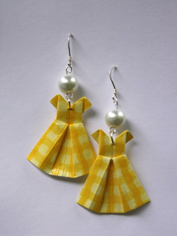 Yellow Gingham Origami Dress Earrings by EarWigs on Etsy, $8.50