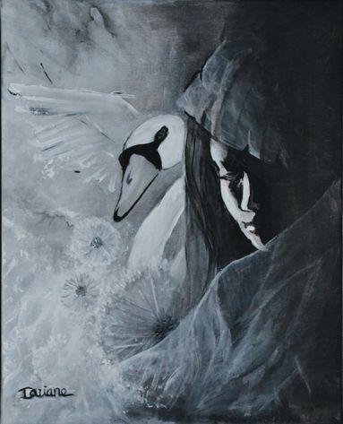 Voile et dentelles. (cygne, pissenlit, noir et blanc, douceur...) acrylique sur toile,  Dariane Grégoire Poirier