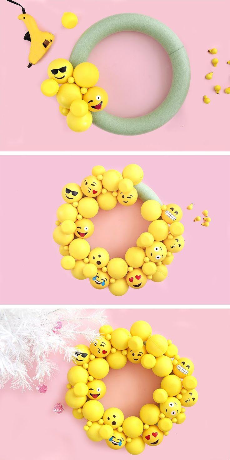 DIY Emoji Ornament Wreath